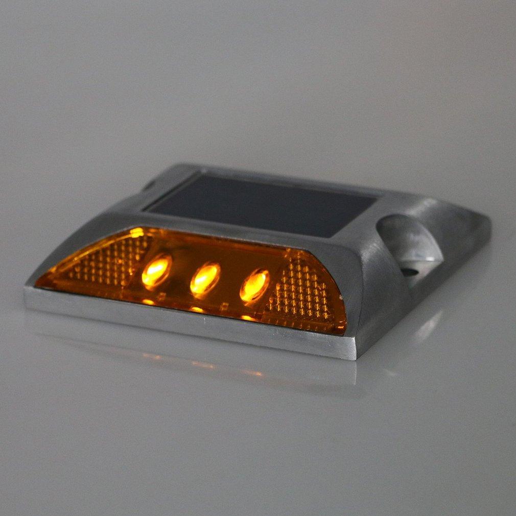 2 Pcs G011 Solar Road Studs Aluminum Spike Traffic Signal Lights LED Lights
