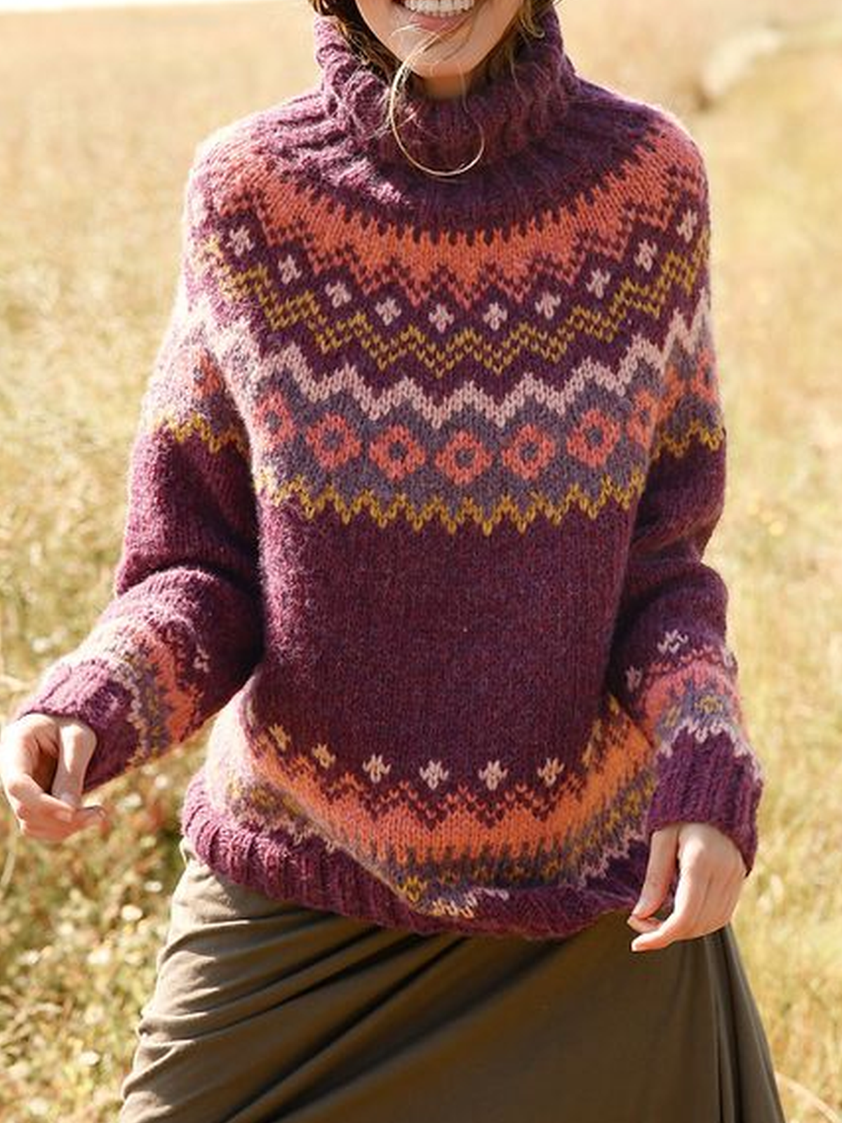 Casual Turtleneck Printed Sweater