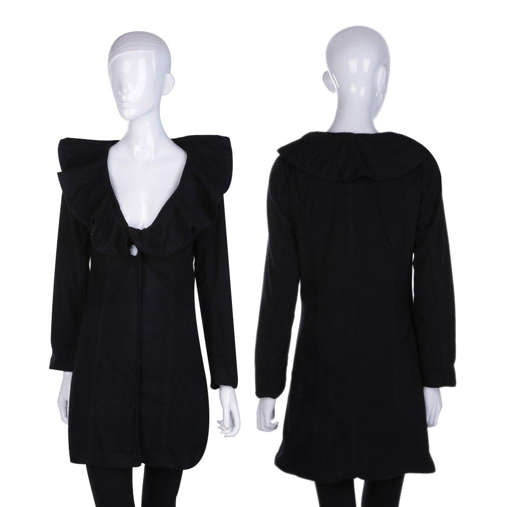 Women's Black Frills Collar Woolen Long Coat Thick Outwear Winter Autumn