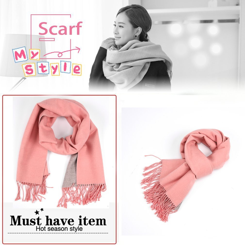 Double-side Dual-color Soft Cashmere Winter Scarf Shawl Long Warm with Tassel