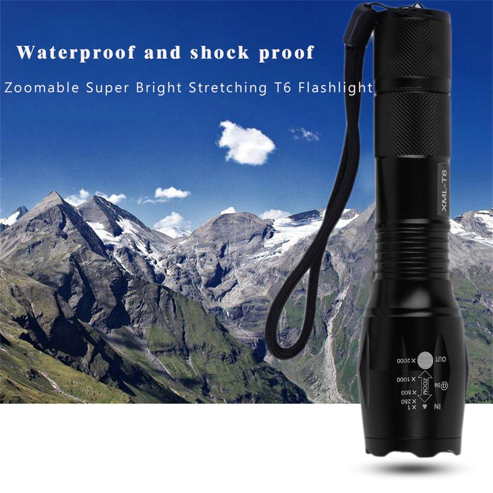 Zoomable Super Bright Stretching T6 Flashlight 6000Lumens Torch 5 Modes