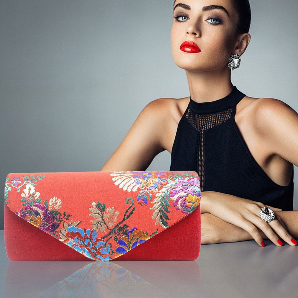 Trendy National Style Embroidery Women Clutch Bag Party Night Club Evening Bag Soft Velvet Female Dinner Bag Clutches Bag