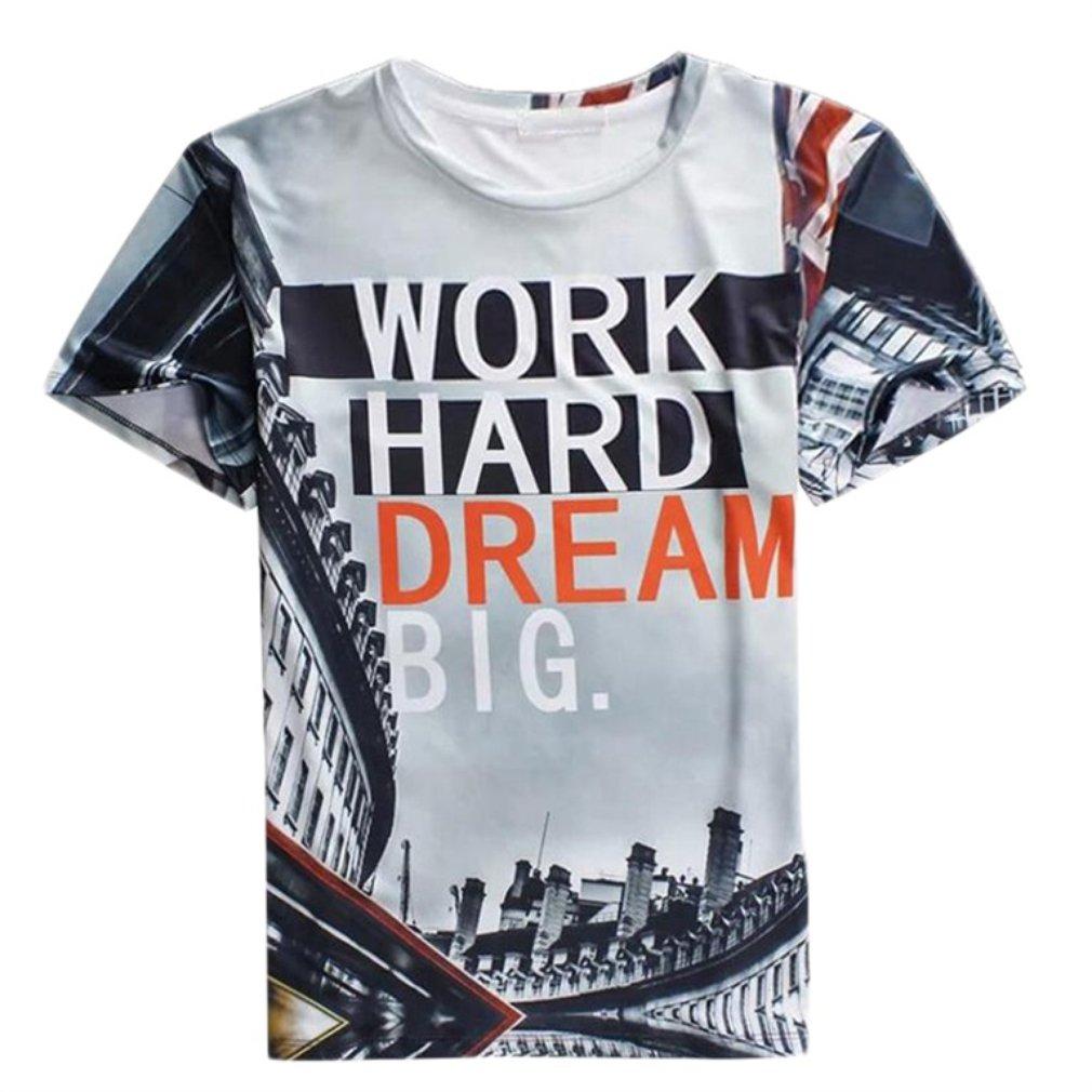 Hot Men's Building Print Cotton Blend Short Sleeve Crewneck Tops T-Shirt