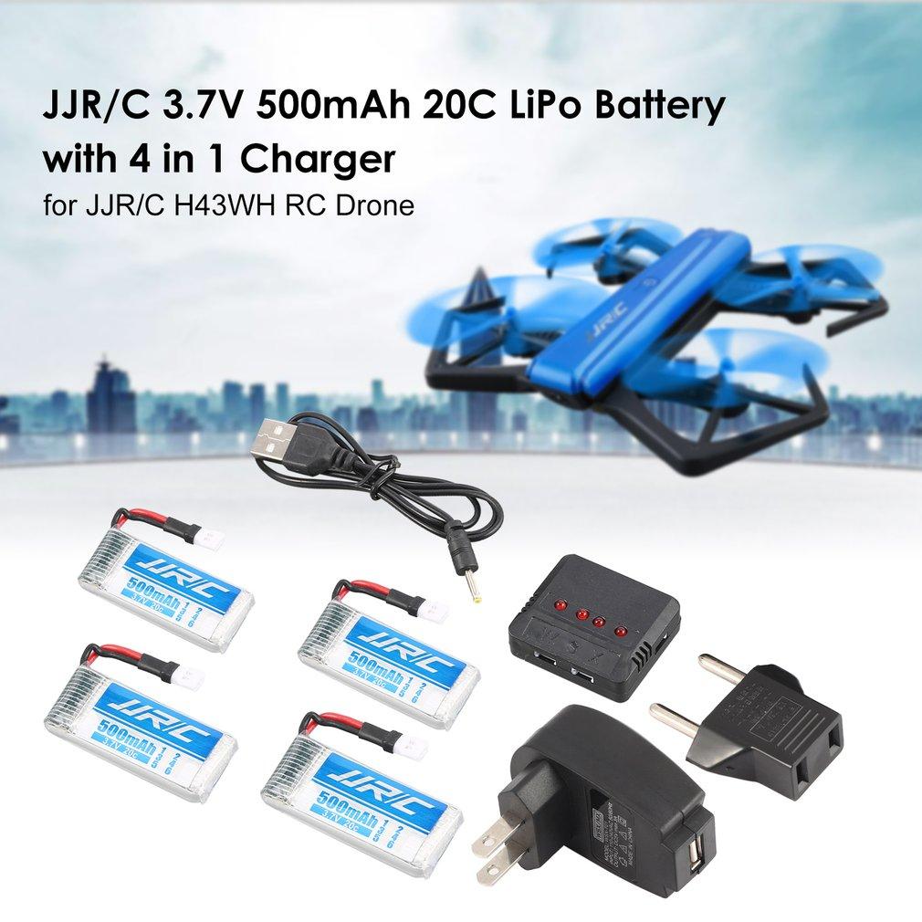 Original JJR/C 4Pcs 3.7V 500mAh LiPo Battery Charger for H43WH T33 RC Drone