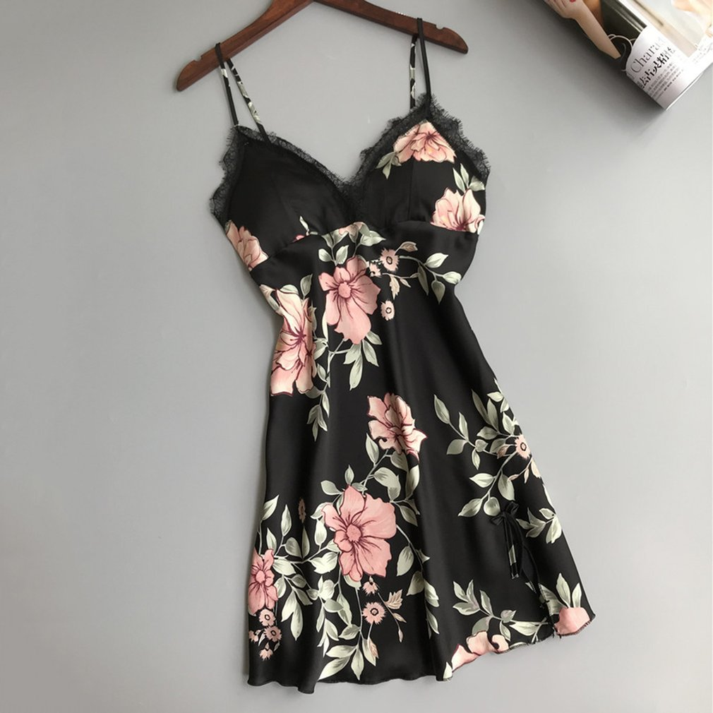 Women Silk Satin Night Gown Sleeveless Nightdress Floral Printed Sleepwear