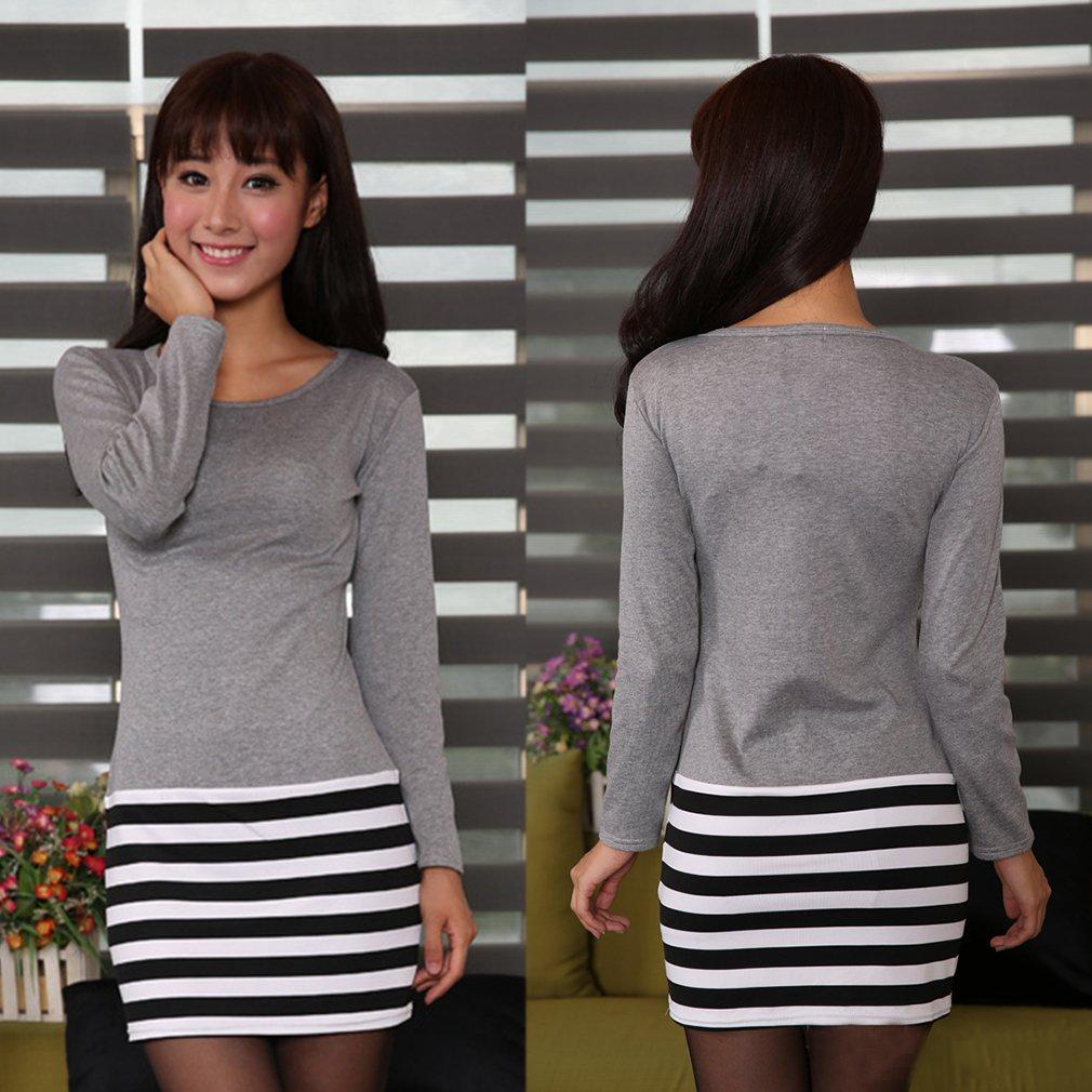 Women Sweet Fashion Long Sleeve Stitching T-Shirt Top Blouse Mini Dress