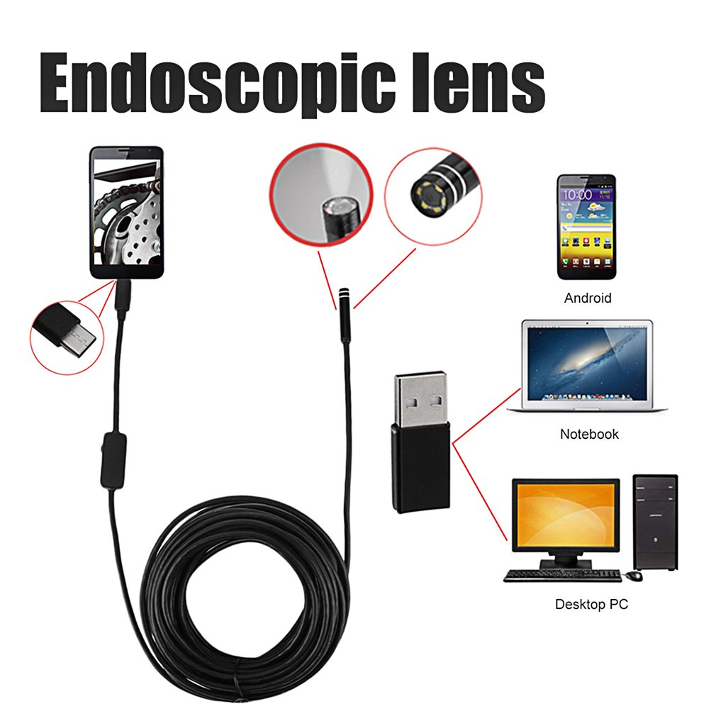 TYPE-C Waterproof USB Inspection Endoscope 10 Meters Cable For Observation