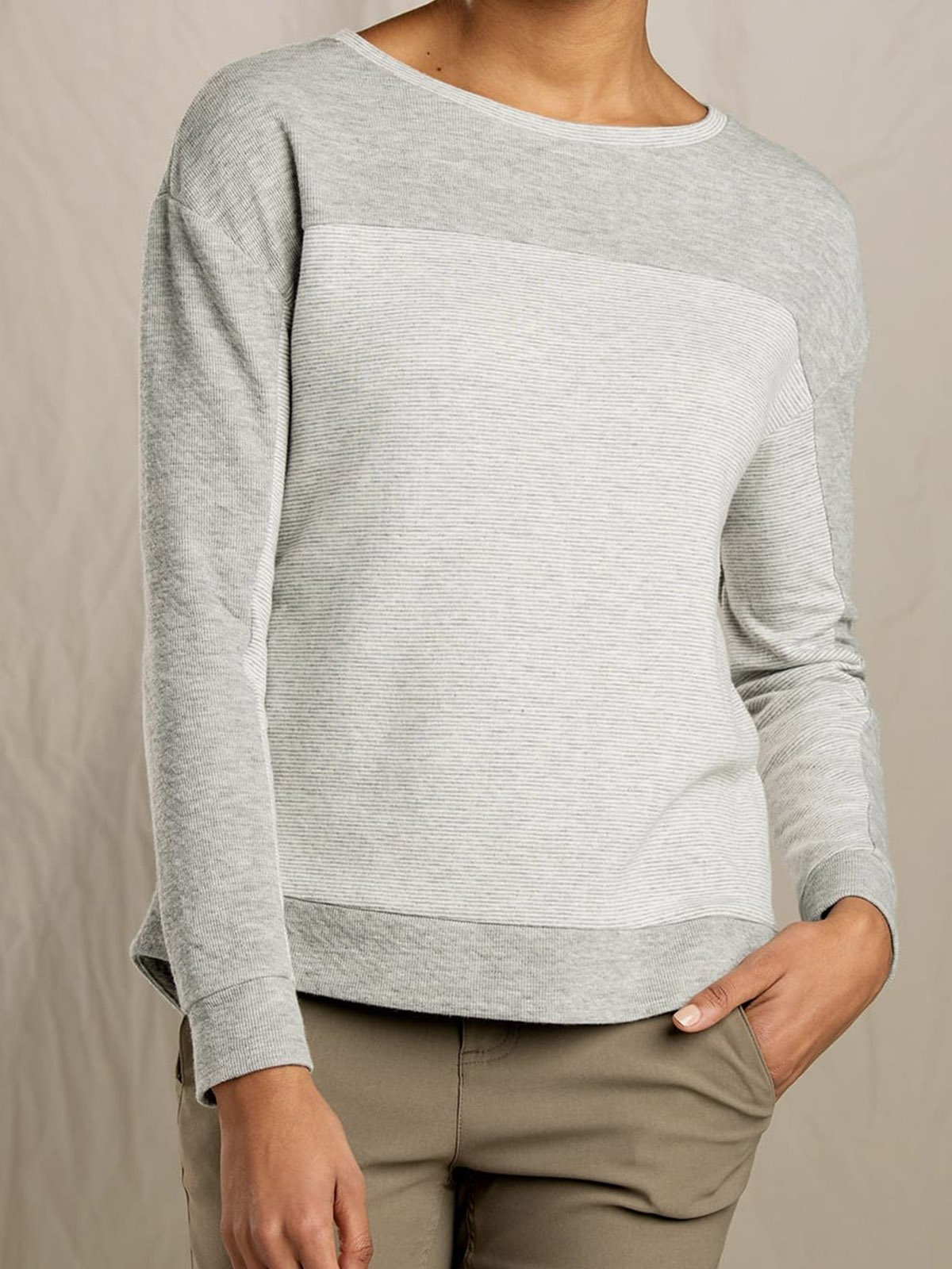 Colorblock round neck sweater Cotton Casual Sweater