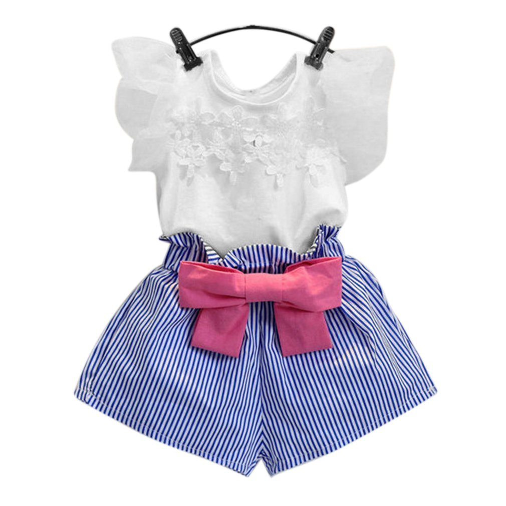 Kids Girls Outfits O-neck Lace Sleeve Shirt Striped Shorts Children Clothes