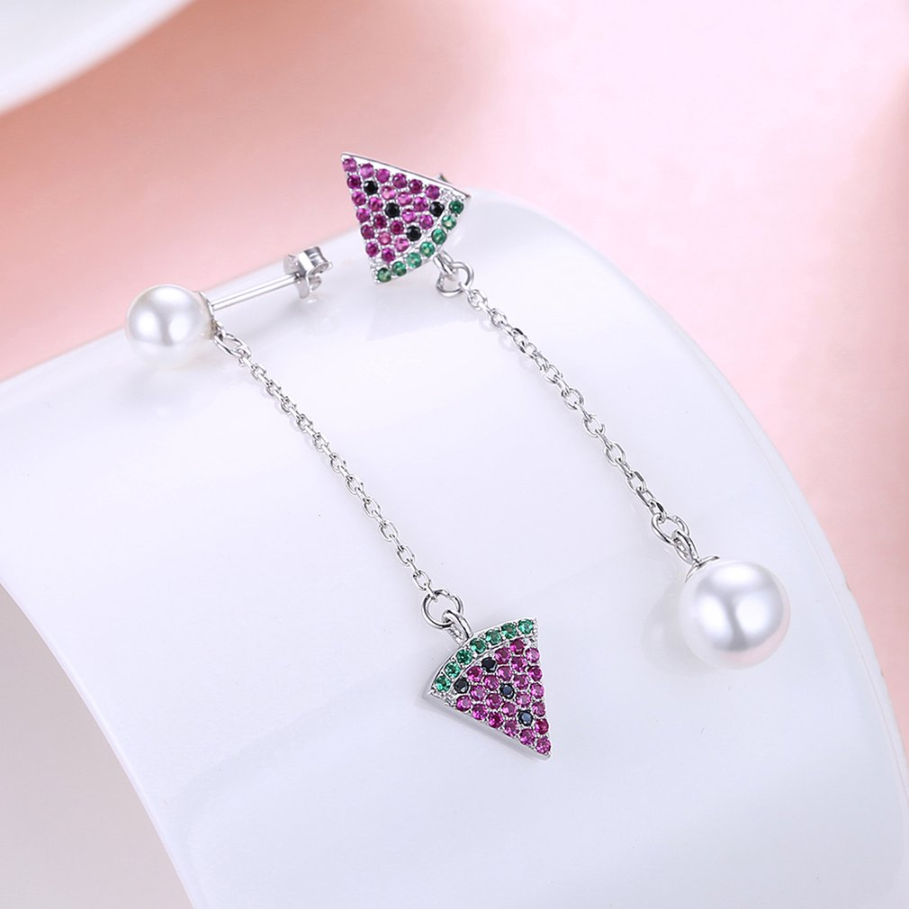 Well-matched Female Fashion Watermelon & Imitation Pearls Decortion Long Hanging Dangle Push-back Earrings Jewelry