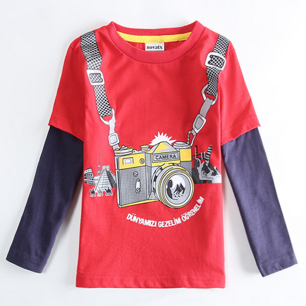 Soft High Quality Camera Pattern Long Sleeve Shirts For Baby Boys