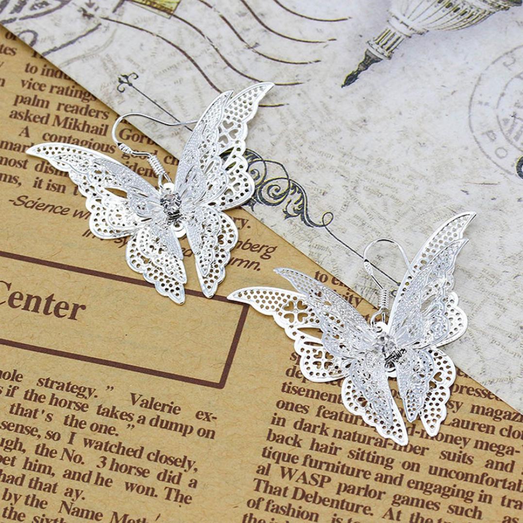 Fashion Lady Hollow Butterfly Charm Pendant Dangle Earrings Eardrop Jewelry Gift