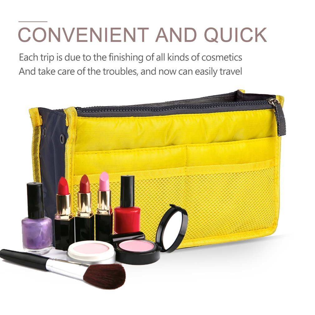 Multifunctional Double Zipper Polyester Makeup Bag Portable Travel Beauty Cosmetic Bag Make Up Toiletry Bag With Handle