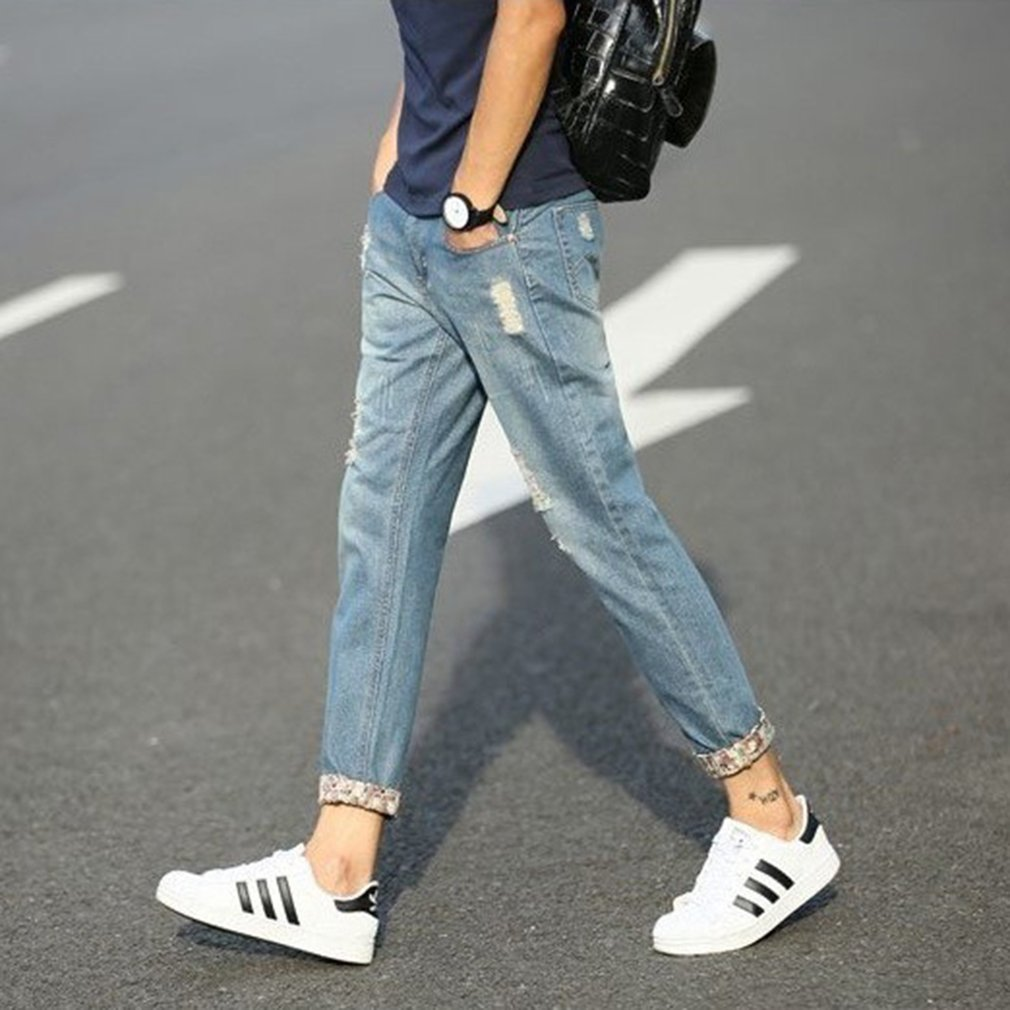 Men's Ankle-length Pants Ripped Hole Middle-waisted Jeans With Zipper Closure