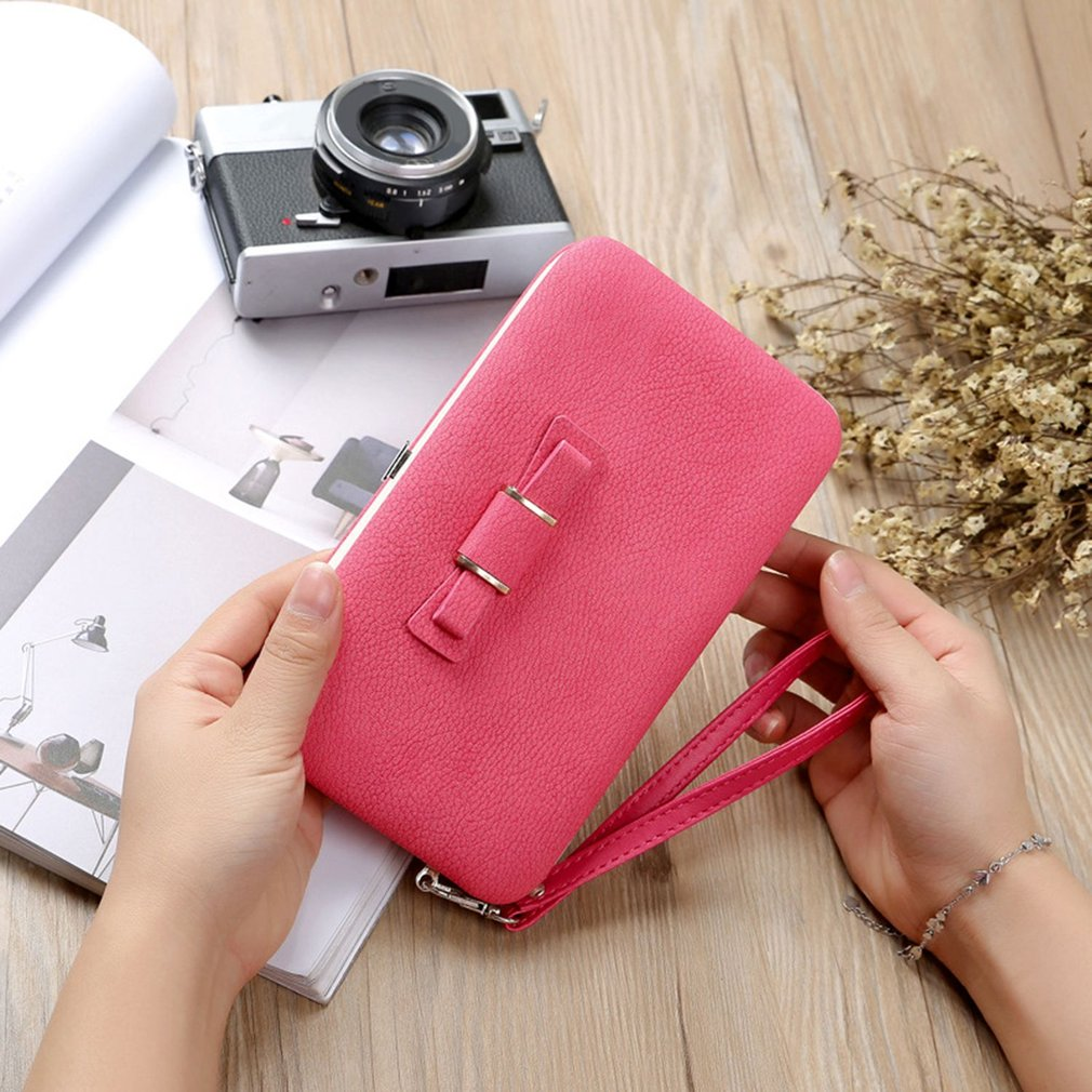 Bowknot Decoration Mobile Phone Bag Clutch Wallet Purse Long Card Holder