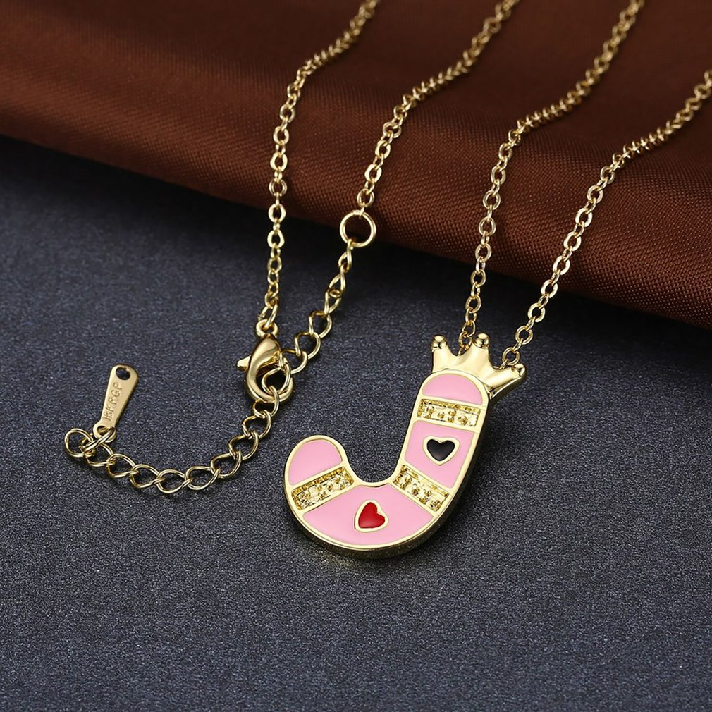 Classic Letter J Crown Pendant Necklace Ladies Wedding Engagement Daily Wear Necklace Fine Jewelry Best Valentine Gift