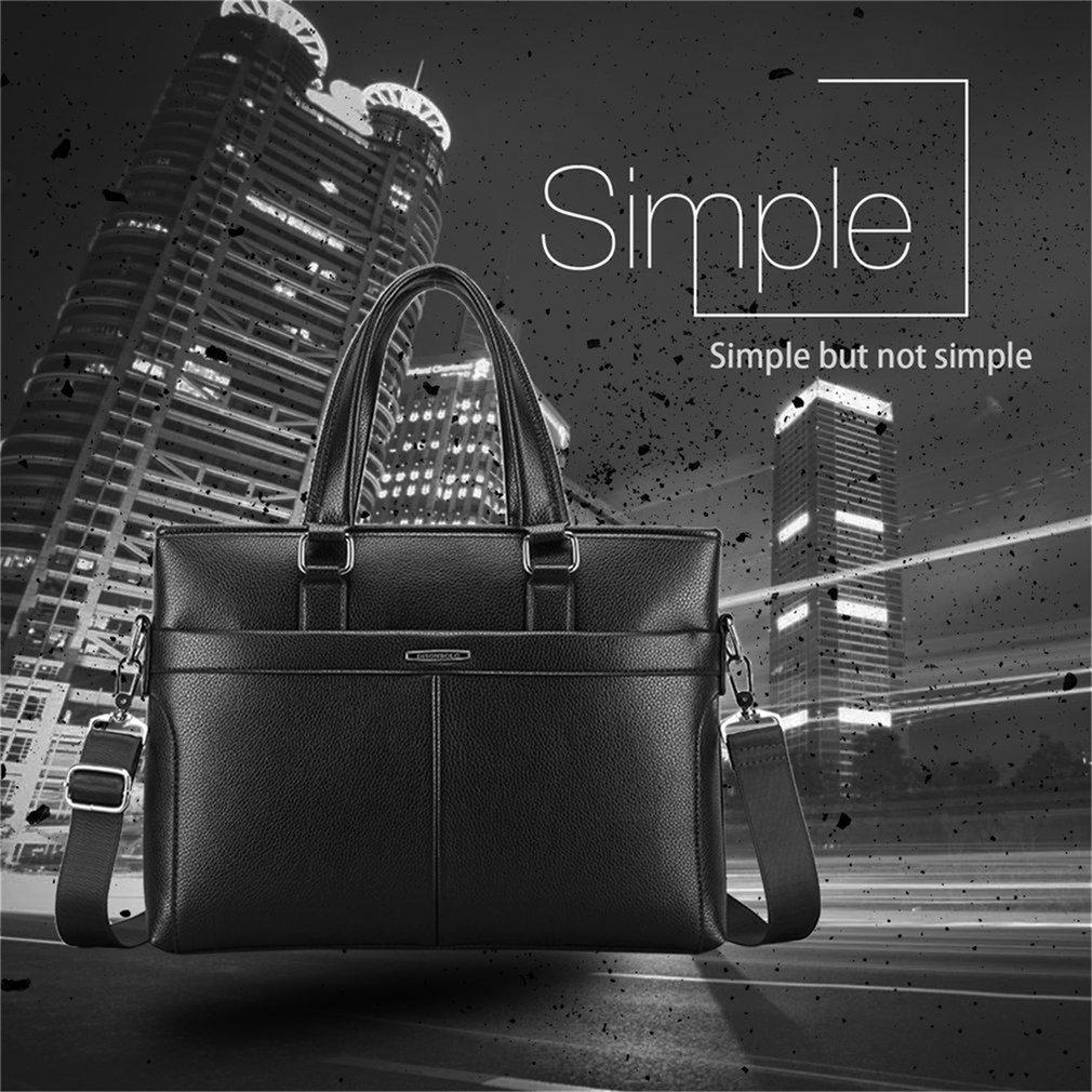 2017 Fashionable Men PU Leather Messenger Bags Solid Color Briefcase Handbags