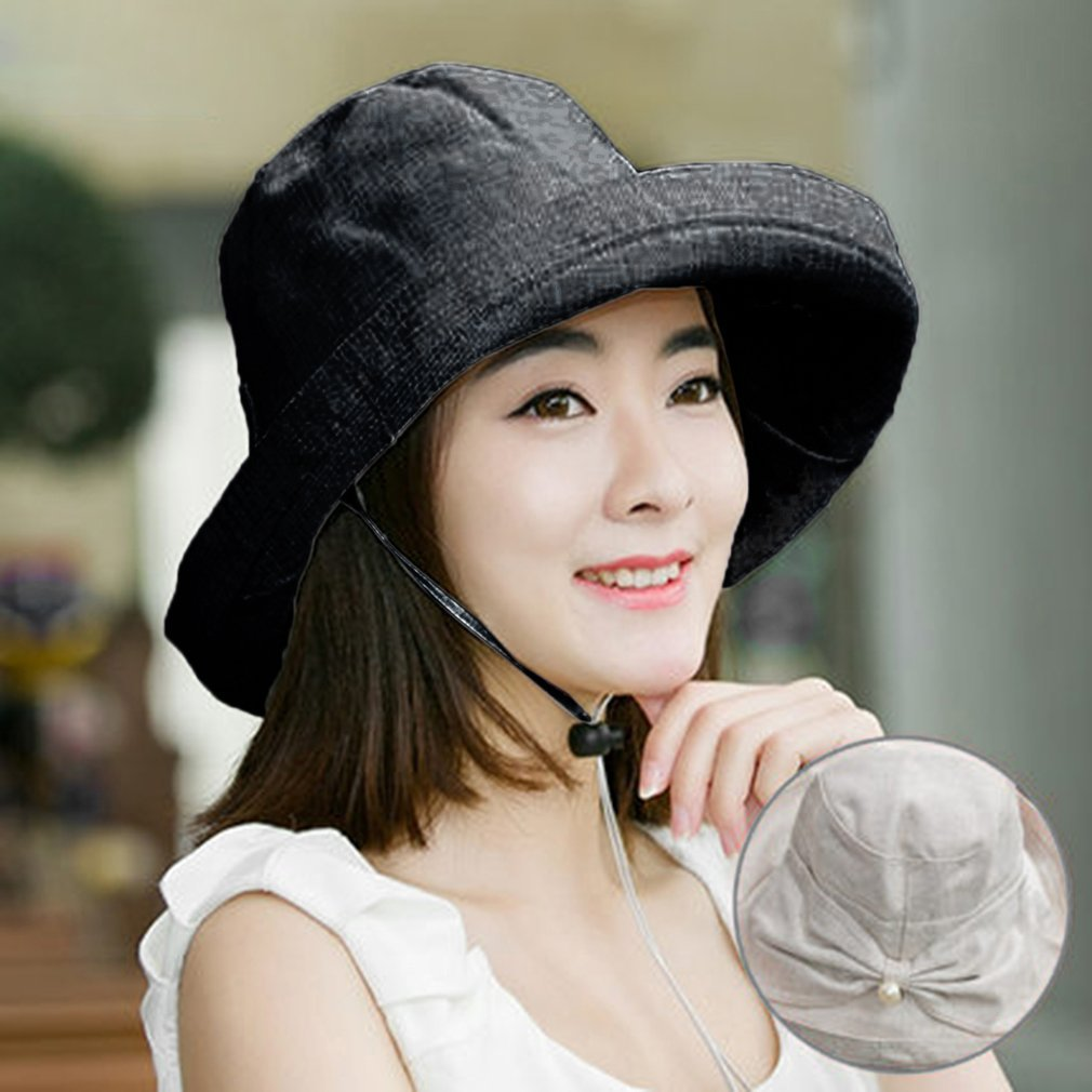 Foldable Sun Hat Women Floppy Wide Brimmed Sun Visor Summer Beach Adult Casual Solid Autumn Spring Butterfly Knot Hat Cap