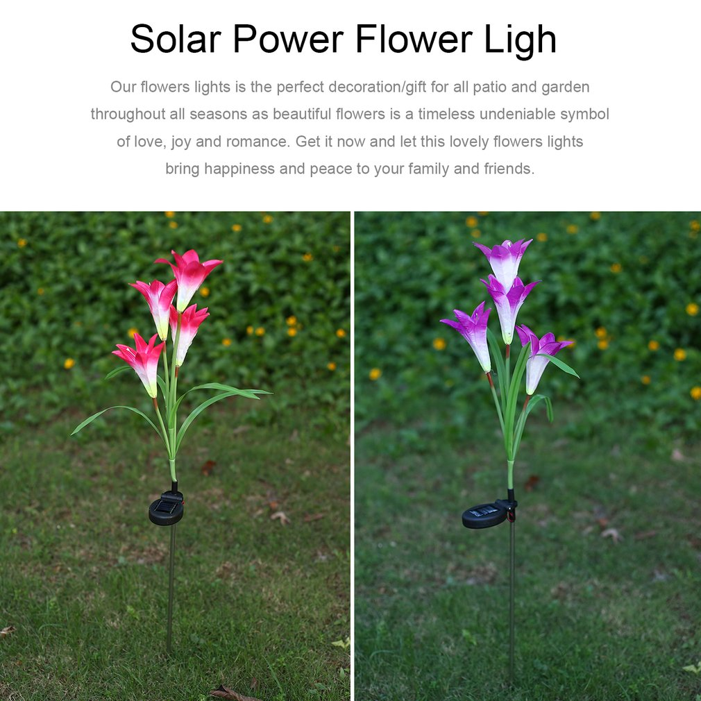 4 Heads Lily Solar Power Flower LED Light Waterproof Outdoor Garden Yard Lamp