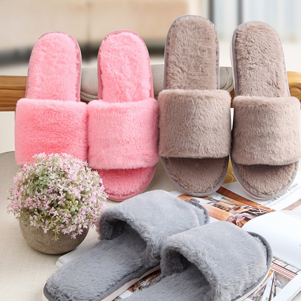 Autumn Winter Candy Color Anti-Slip Men Women Home Indoor Slippers Shoes