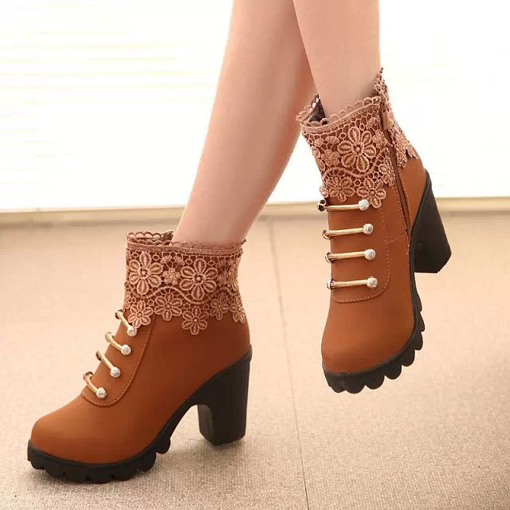 Autumn Winter Women Boots Solid  British Style Ladies shoes PU Leather Boots