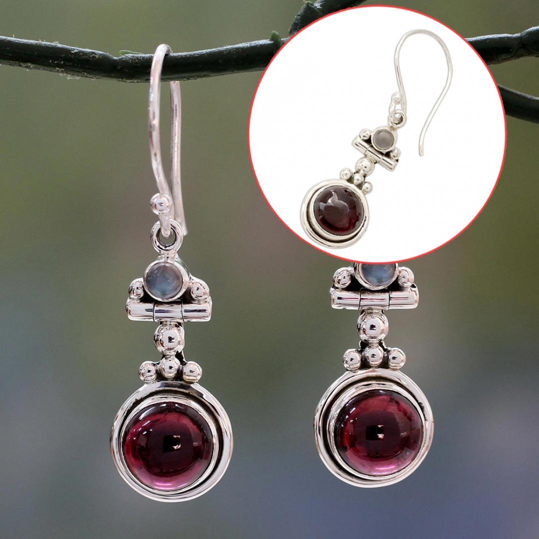 Women Vintage Faux Ruby Drop Dangle Hook Earrings Party Jewelry Banquet Gift