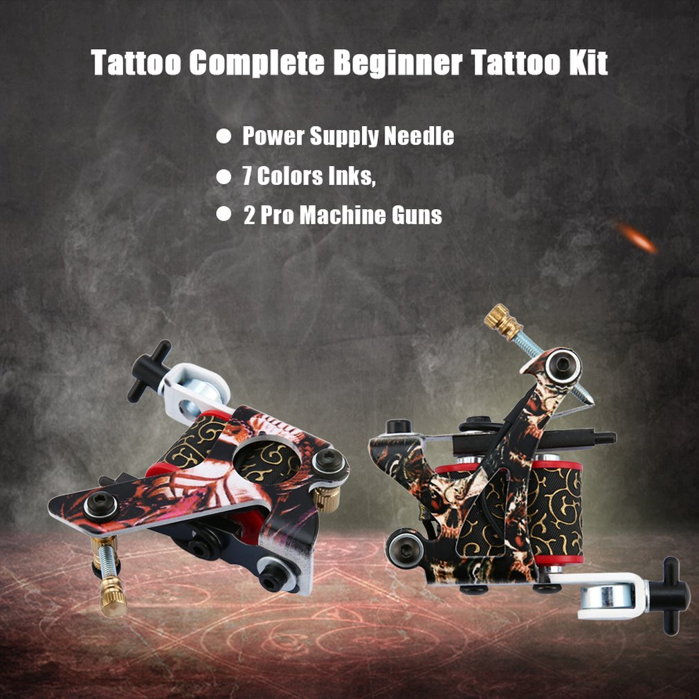 Tattoo Beginner Tattoo Kit 2 Pro Machine Guns 7 Colors Inks Power Supply Set