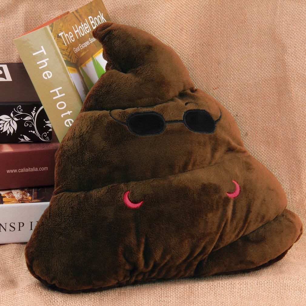 New Cute Pillow Cushion Emoji Poop Shaped Doll with Glasses Toy Soft Pillow