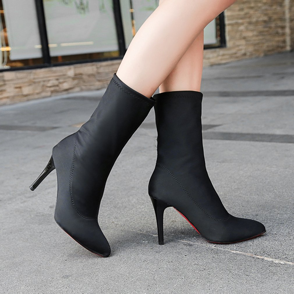 Fashion European Style Winter Warm Ankle Boots High Heel Boots Sexy Fine Heel
