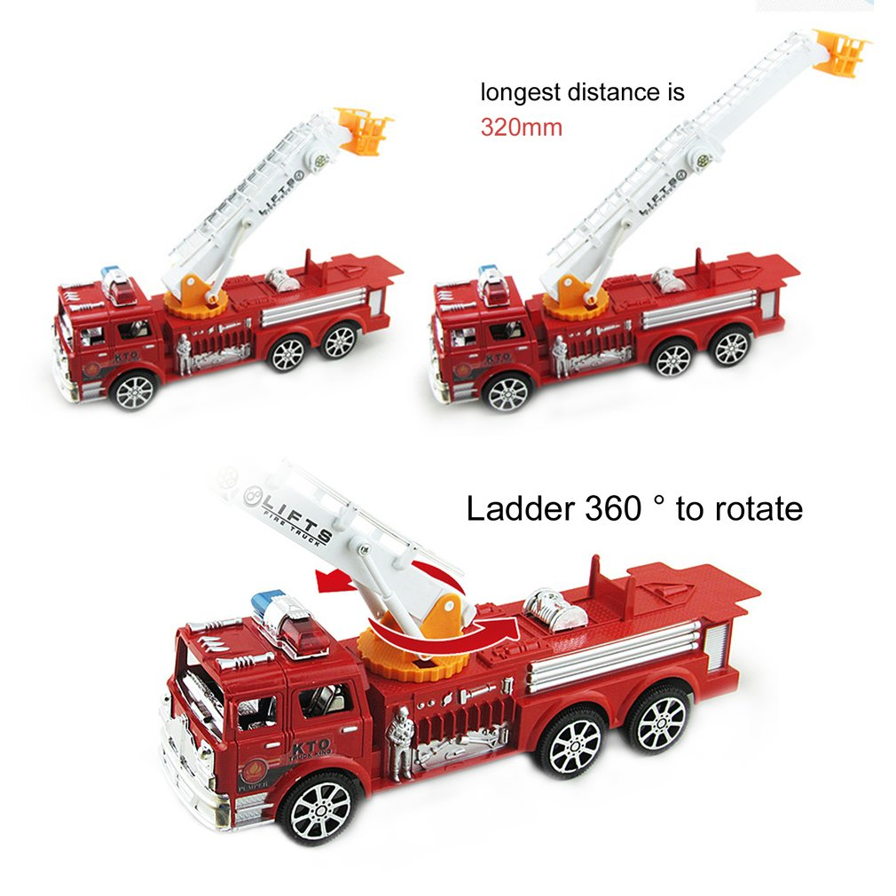 Model Car Engineering Vehicle Simulation Aerial Fire Truck Folding Ladder