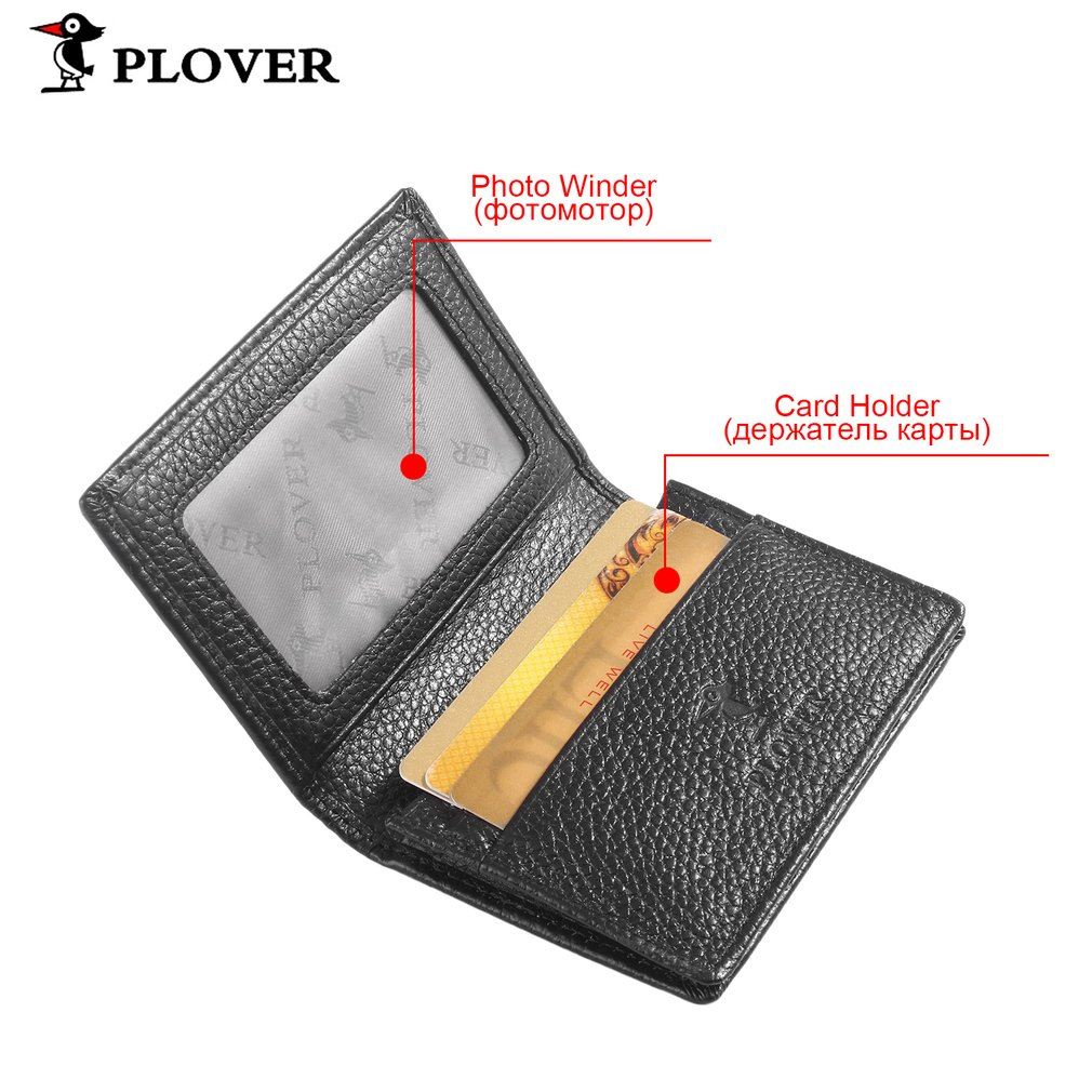 PLOVER Luxury Business Style Solid Color Credit Cards ID Card Holder Wallet