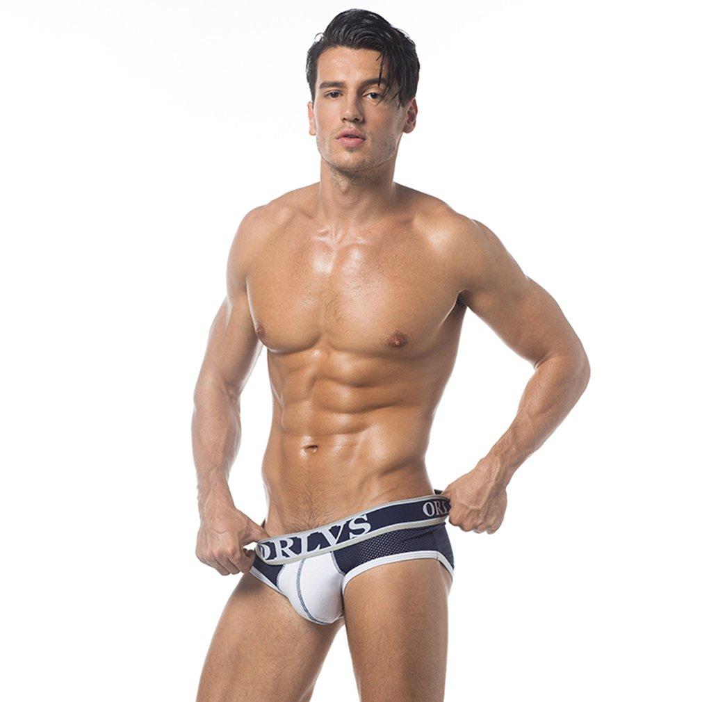 Orlvs Men Underpants Briefs Breathable Mesh Sexy Elastic Underwear Panties
