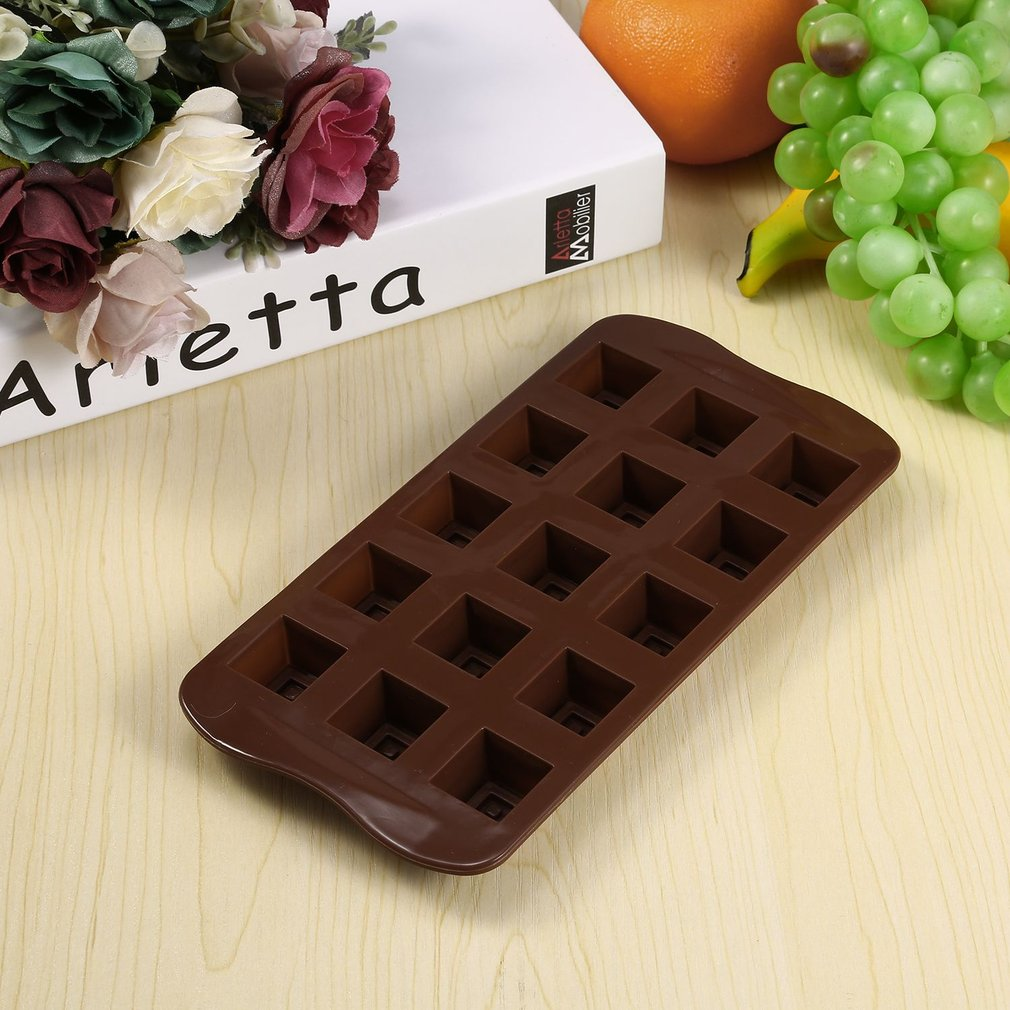 15 Slots Square Grid Silicone Molds Chocolate Mold Jelly Pudding Pastry Mould