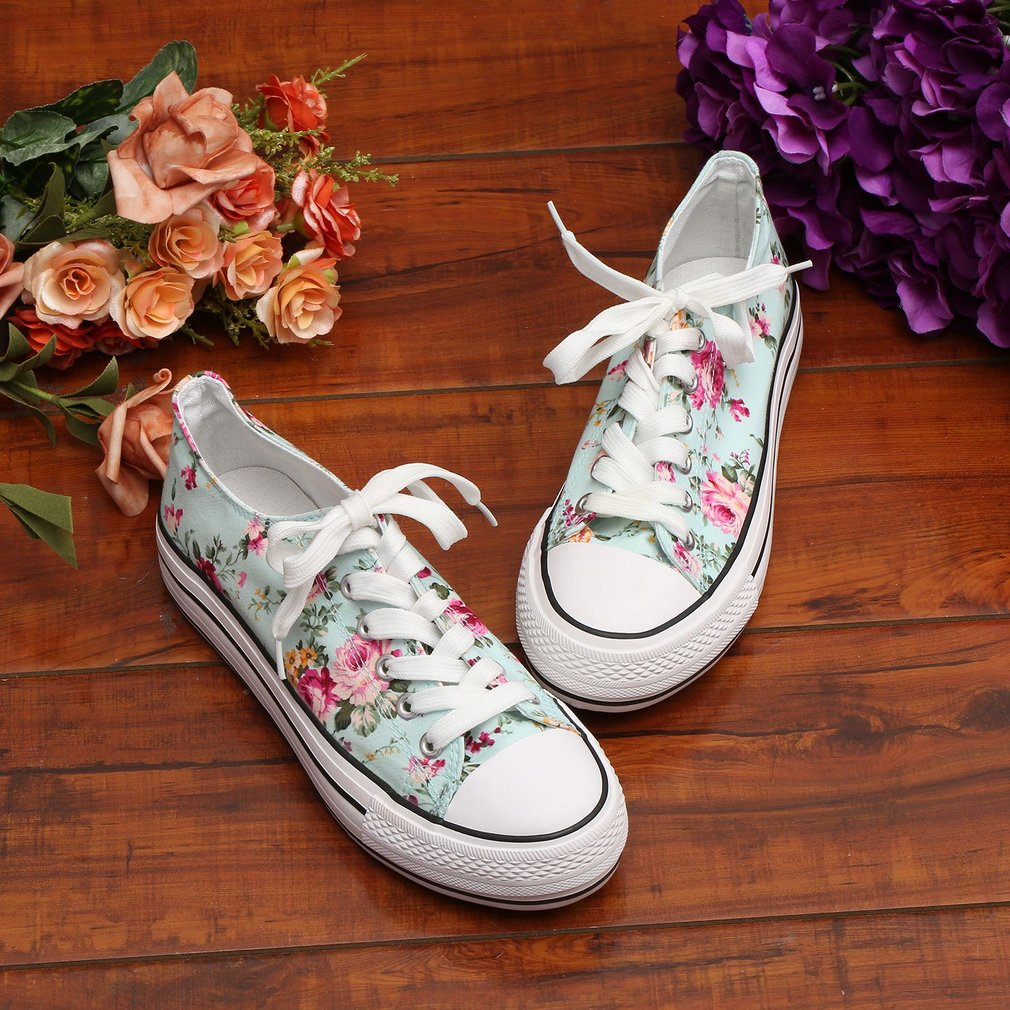 Fashion Design Women Thick Crust Platform Shoes Girls Floral Printed Shoes