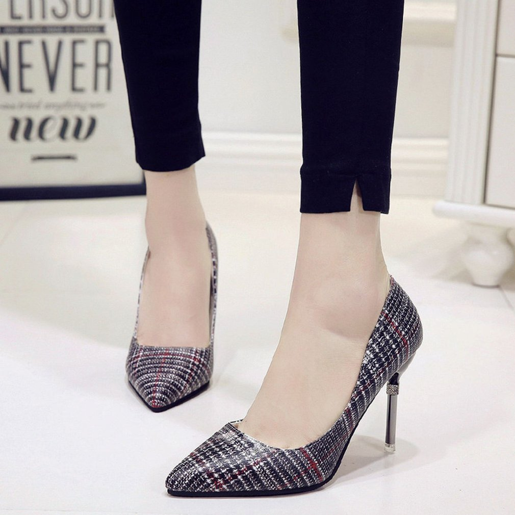 Fashion Plaid High Heels Shoes Pointed Toe Thin Heeled Shoes Spring Autumn Woman Shoes Elegant OL Style For Party Dress
