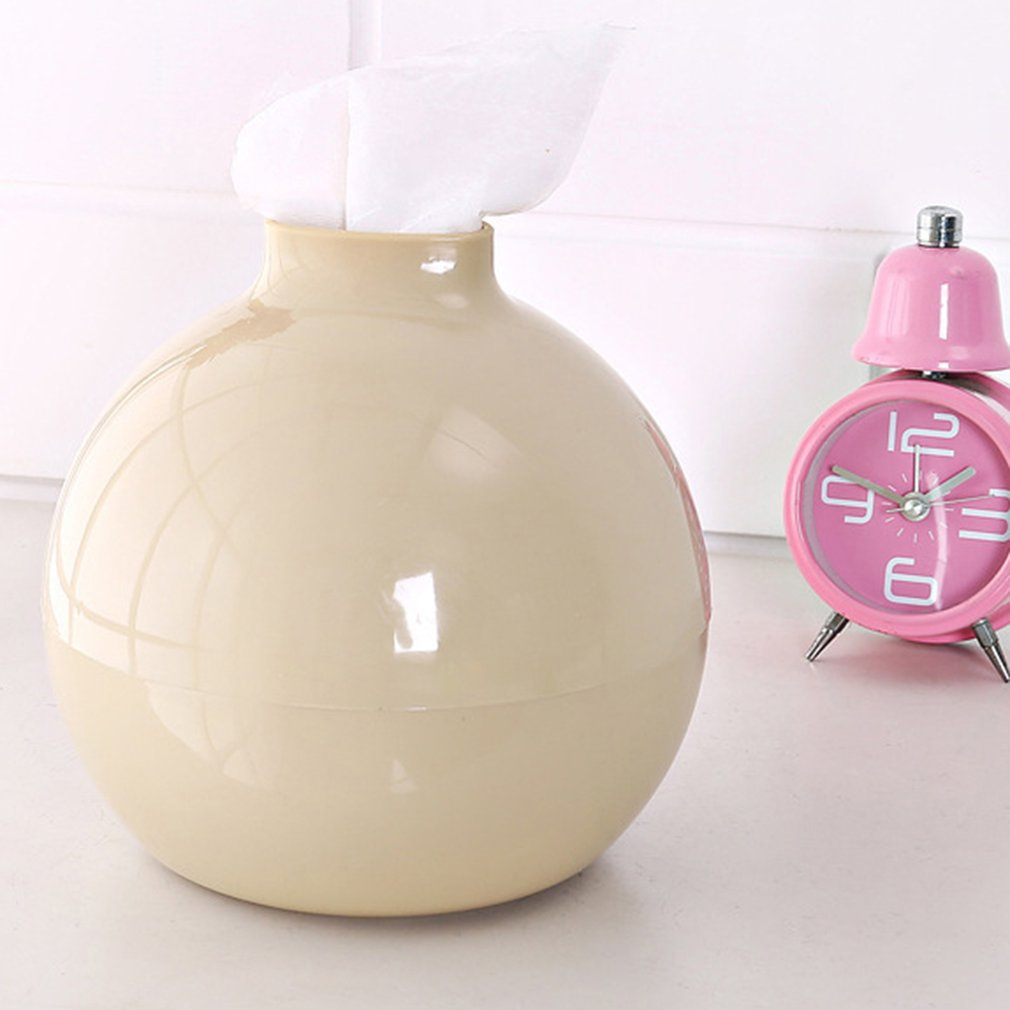 Lovely Cute Round Ball Shape Towel Box Modern Solid Color PP Tissue Box