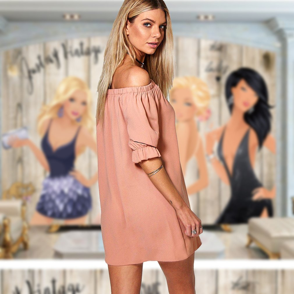 Stylish Fashion Ladies Dress Off-shoulder Sexy Short Dress with Button Above-knee Solid Color Casual Summer Clothes