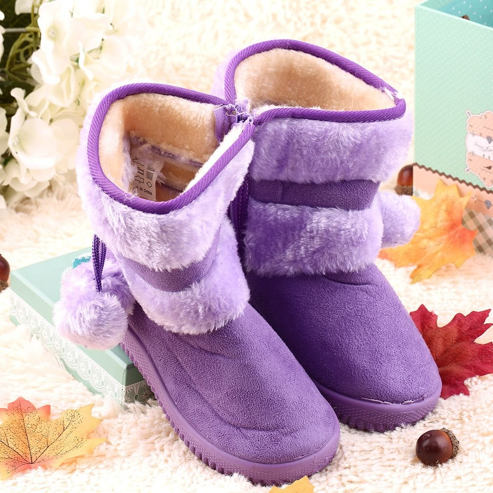 New Baby Kid Girl Toddler Infant Winter Snow Boots Warm Crib Shoes Faux Fur