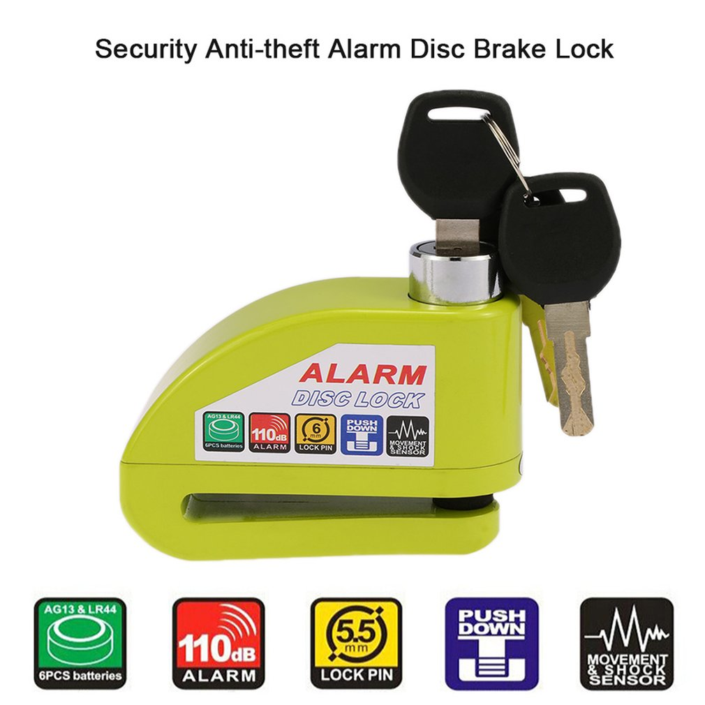 Universal Motorcycle Scooter Bicycle Alarm Disc Lock Anti-theft with 3 Keys