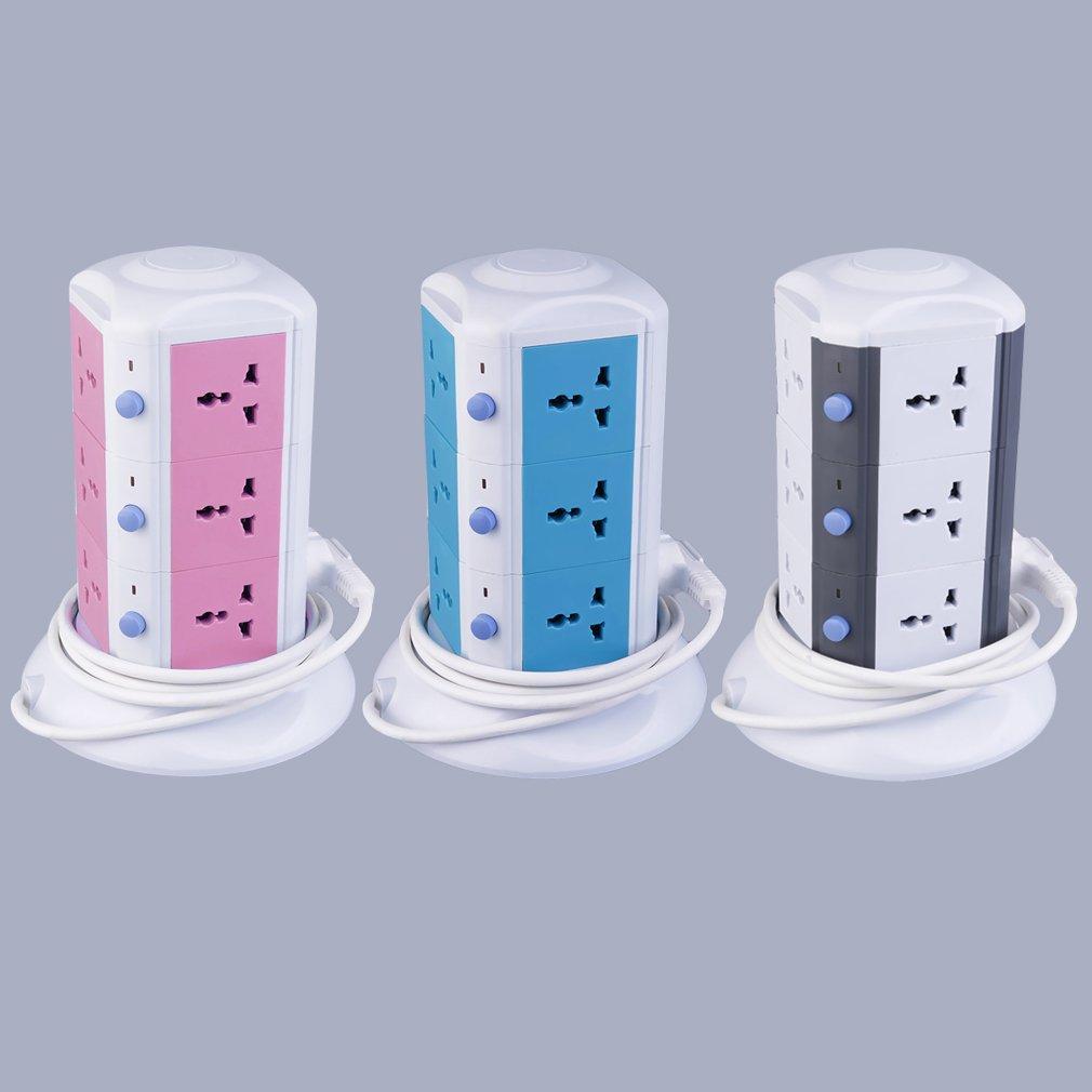 Vertical 3 Layers Socket EU Surge Protector Power Board w/Indicator AU Plug
