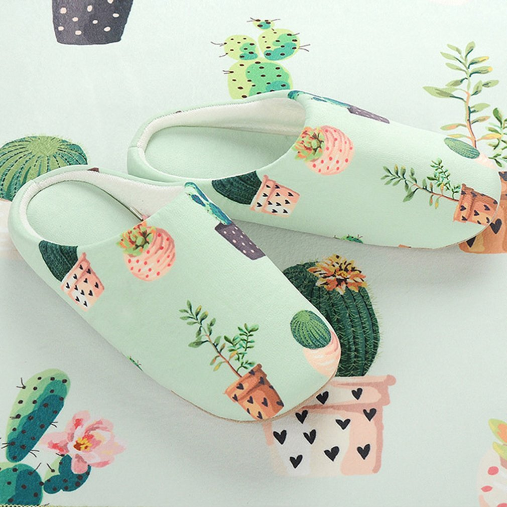 Spring Autumn Lovers Unisex Soft Comfortable Unique Potted Plants Printing Slippers Half Covered Indoor Home Shoes