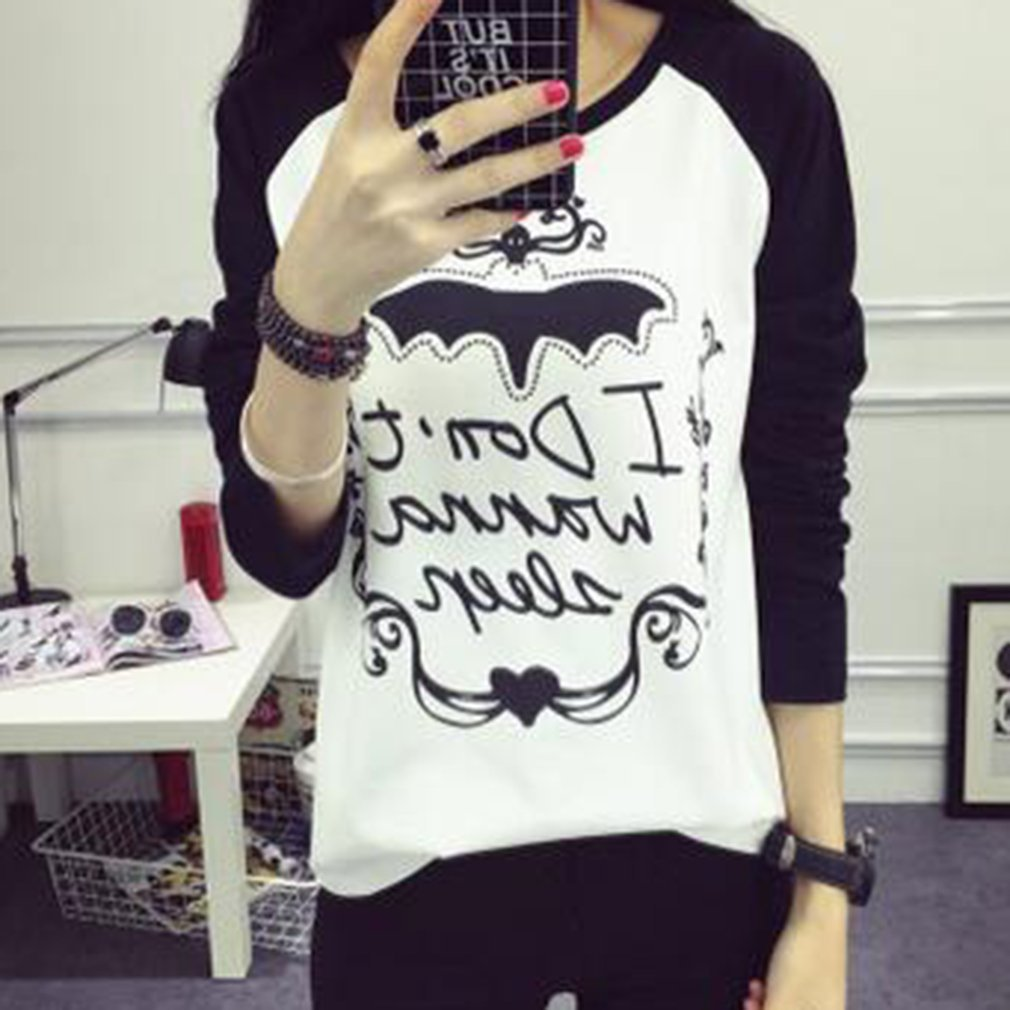 Fashion Long-sleeved T-shirt with Special Cartoon Pattern Print Casual Round-neck Bottoming T-shirt for Women