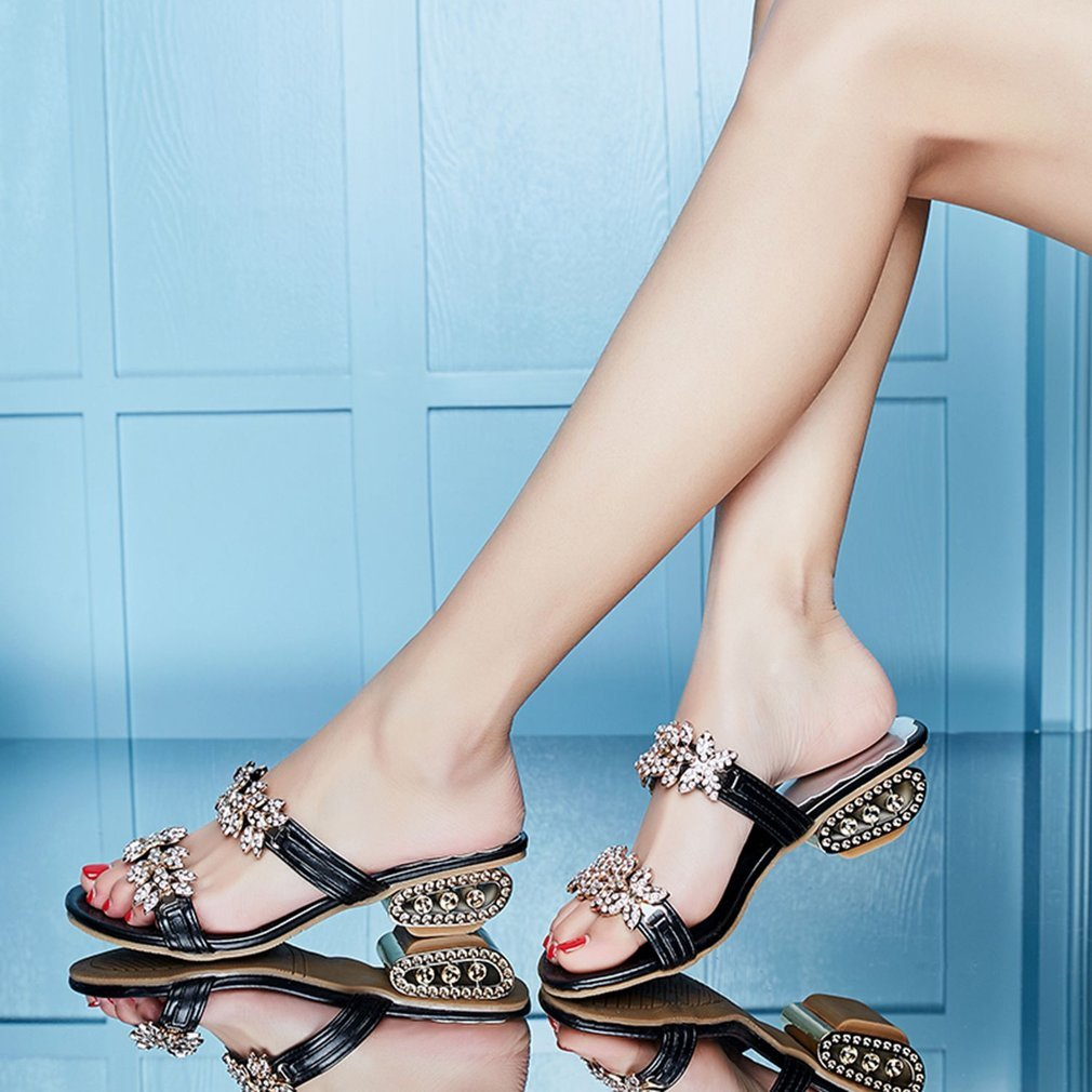 Fashion Rhinestone Decoration Women Summer Sandals Peep Toes Women Chunky Heel Shoes Comfortable All-match Female Sandals