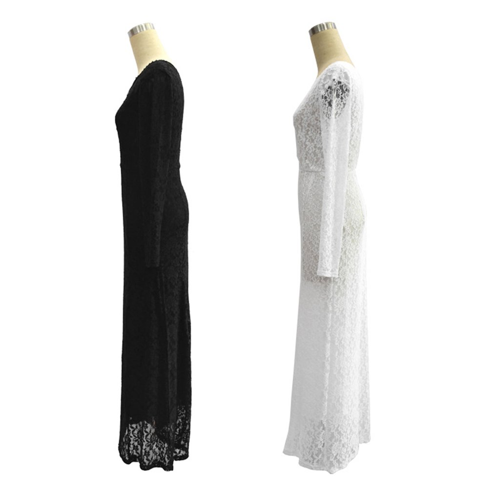 Fashionable Full Length Loose Lace Splicing Elegant Dress Long Robes Comfortable Long Sleeved Party Wedding Women Clothing