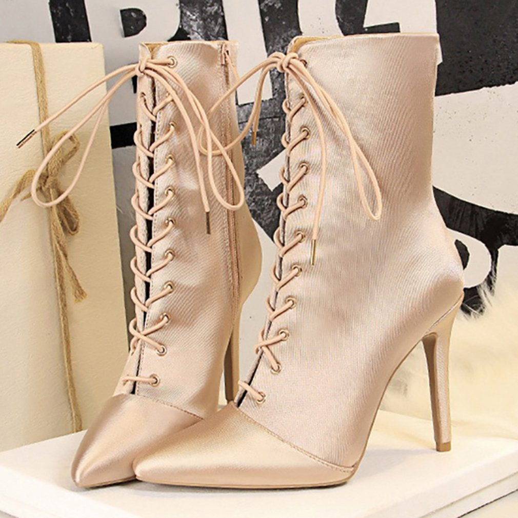 Women Autumn Winter Thin High Heels Lace Up Boots Satin Silk Night Club Shoes