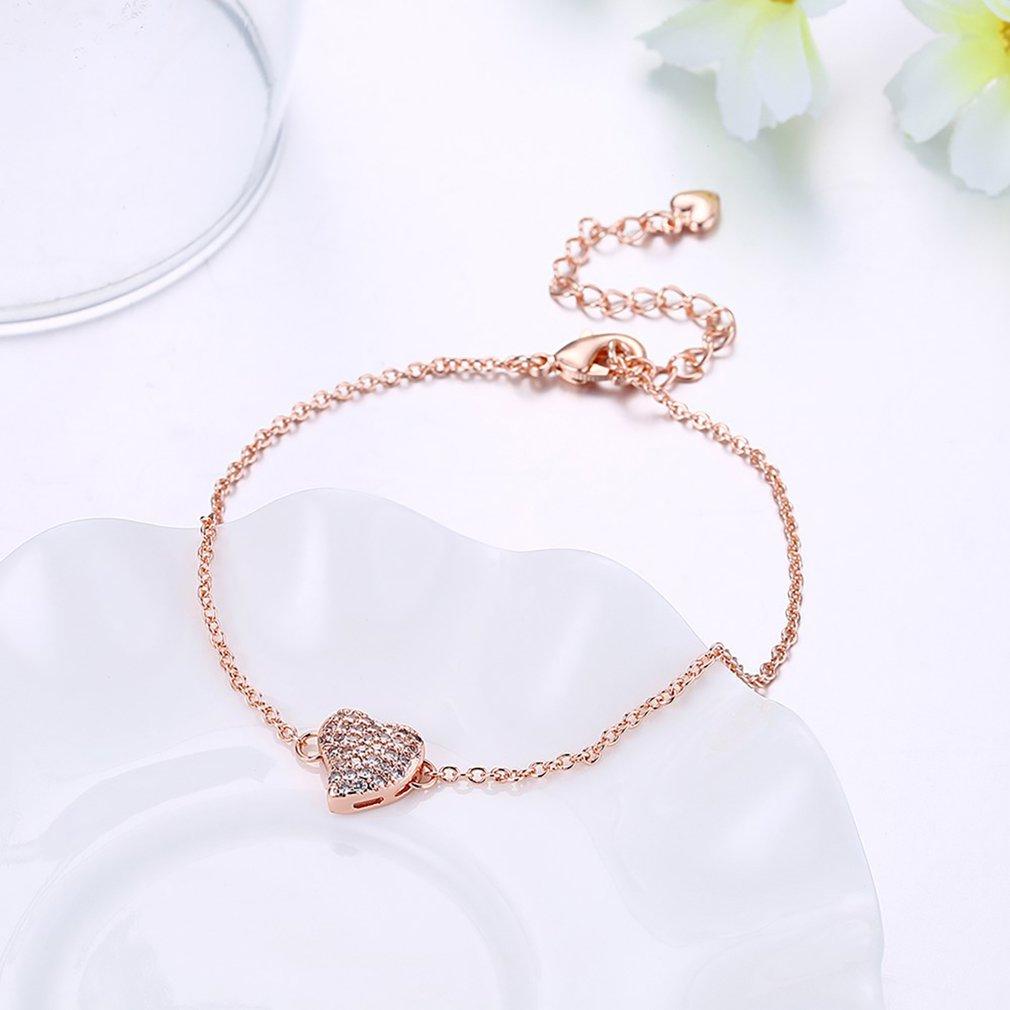 Romantic Heart Shape Women Charm Bracelets & Bangles Fashion Ladies Party Wedding Adjustable Bracelets With Zircon