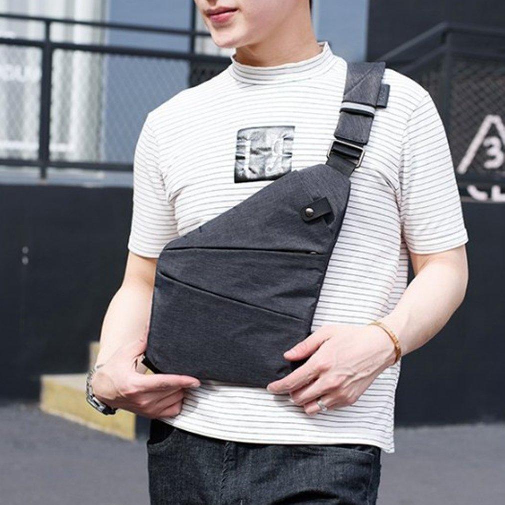 Multifunctional Design Men Waterproof Nylon Single Shoulder Bag Business Style Chest Bag Sport Running Anti-Theft Bag