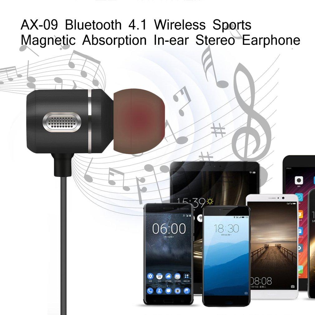 AX-09 Bluetooth 4.1 Wireless Sports Magnetic Absorption In-ear Stereo Earphone