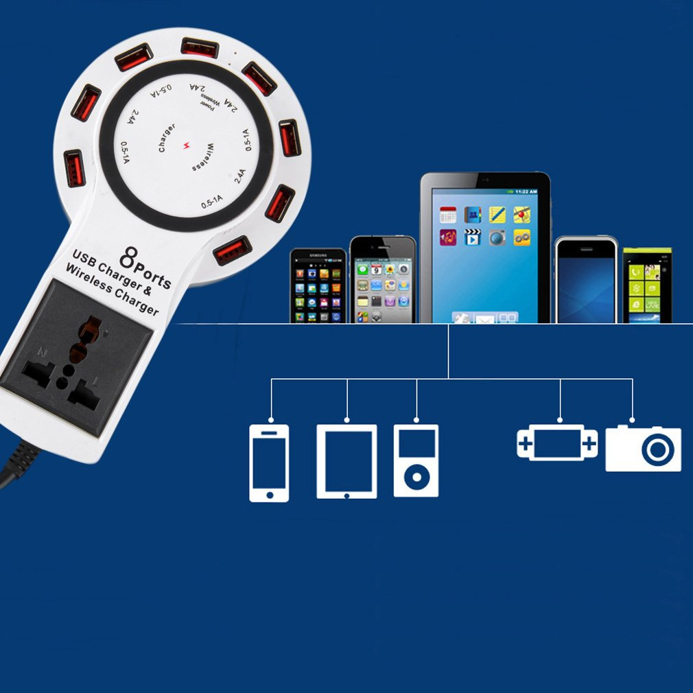 New 8 port USB charge and QI Wireless Fast Charger Charging For Smartphones