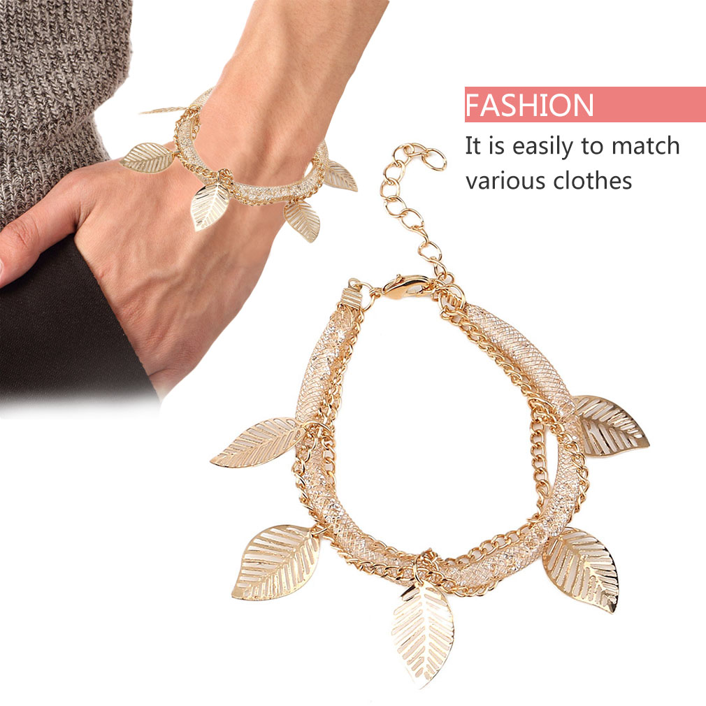 Women Metal Mesh Style Wire Mesh Chain Leaves Hollow Out Bracelet